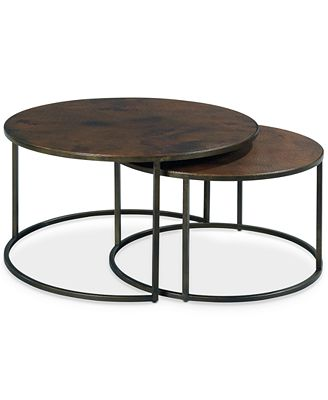 Furniture Copper Round 2-Piece Nesting Coffee Table Set