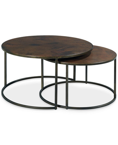 copper round 2 piece nesting coffee table set ID=
