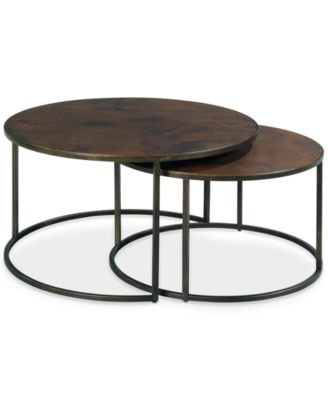 ... Furniture Copper Round 2 Piece Nesting Coffee Table Set ...