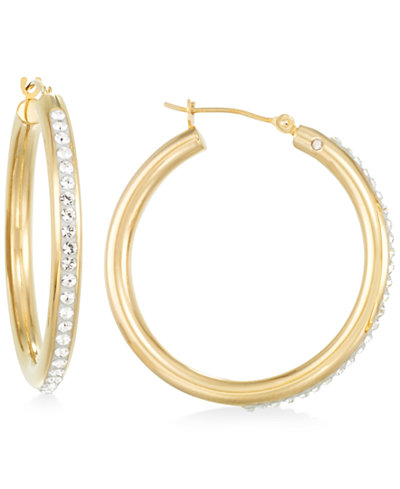 Signature Gold™ Crystal Hoop Earrings in 14k Gold over Resin
