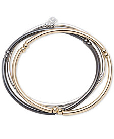 Nine West Tri-Tone Set of 3 Stretch Bangle Bracelets
