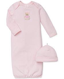 Little Me Baby Girls Sweet Bear Hat & Gown Set
