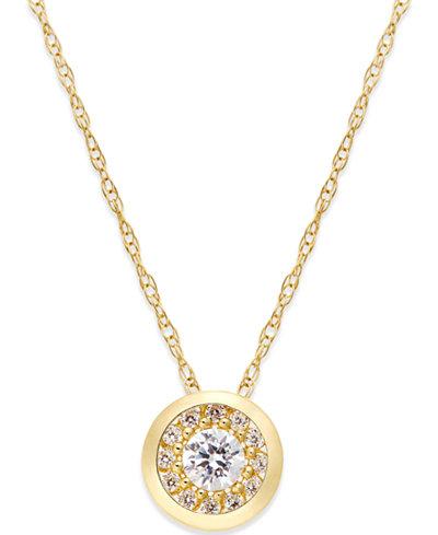 Cubic Zirconia Pendant Necklace in 10k Gold