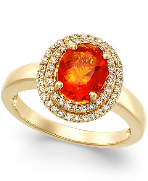 Macy's Fire Opal (1-1/10 ct. t.w.) and Diamond (1/3 ct. t.w.) Ring in 18k Gold