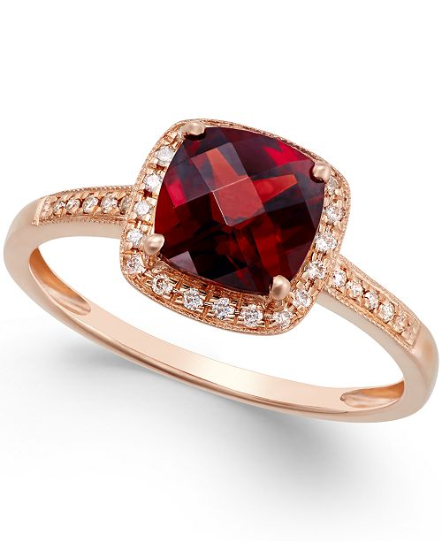 Macy's Garnet (2-1/4 ct. t.w.) and Diamond Accent Ring in 14k Rose Gold
