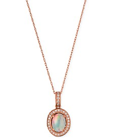 Opal (2/3 ct. t.w.) and Diamond (1/3 ct. t.w.) Pendant Necklace in 14k Rose Gold, Created for Macy's