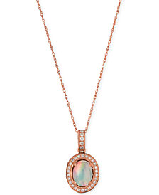 Le Vian Opal (2/3 ct. t.w.) and Diamond (1/3 ct. t.w.) Pendant Necklace in 14k Rose Gold, Created for Macy's