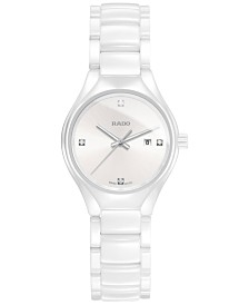 Rado Women's Swiss True Silver-Tone Diamond Accent Ceramic Bracelet Watch 30mm R27061712