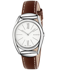 Gucci Women's Swiss Horsebit Camel-Color Leather Strap Watch 30mm YA140502