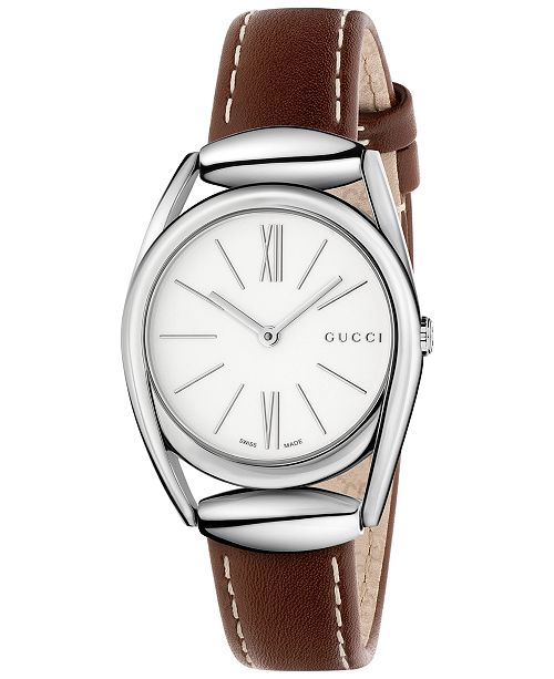 dc75c01bf24 ... Gucci Women s Swiss Horsebit Camel-Color Leather Strap Watch 30mm  YA140502 ...