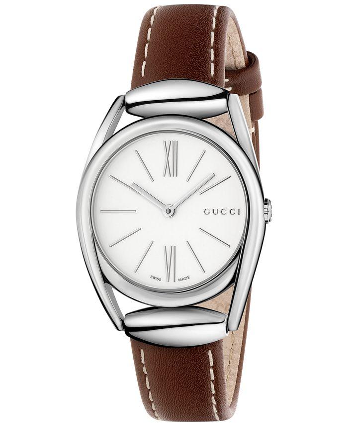 Gucci - Women's Swiss Horsebit Camel-Color Leather Strap Watch 30mm YA140502