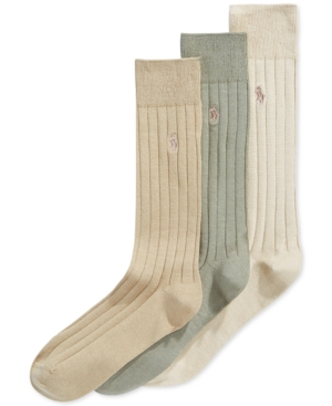 History of Vintage Men's Socks -1900 to 1960s Polo Ralph Lauren Mens Three-Pack Crew Socks $23.00 AT vintagedancer.com