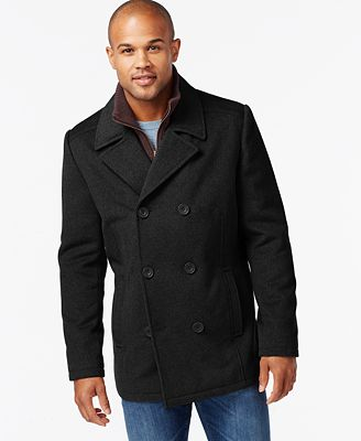 Kenneth Cole Wool-Blend Peacoat - Coats & Jackets - Men - Macy's