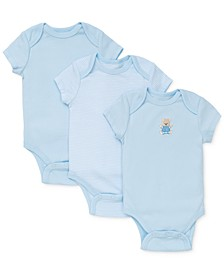 Baby Boys Cute Bear Bodysuits 3-Pack
