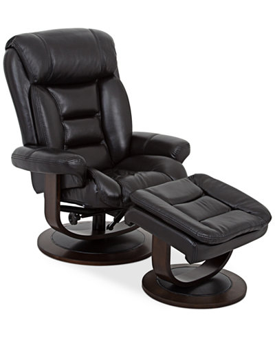 Eve leather recliner with ottoman furniture macy 39 s for Big comfy leather chair