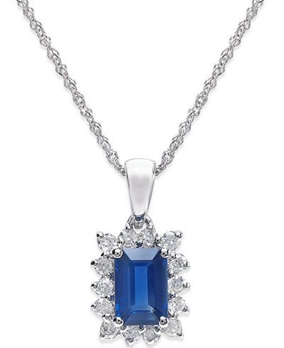 Sapphire (5/8 ct. t.w.) and Diamond (1/5 ct. t.w.) Pendant Necklace in 14k White Gold
