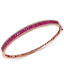 EFFY® Ruby (3-1/2 ct. t.w.) and Diamond (1/2 ct. t.w.) Bangle Bracelet in 14k Rose Gold
