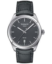 Tissot Men's Swiss PR 100 Gunmetal Leather Strap Watch 39mm T1014101644100