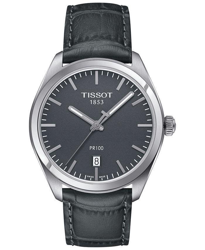 Tissot - Men's Swiss PR 100 Gunmetal Leather Strap Watch 39mm T1014101644100