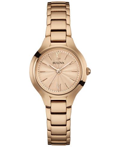 Bulova Women's Rose Gold-Tone Stainless Steel Bracelet Watch 28mm 97L151