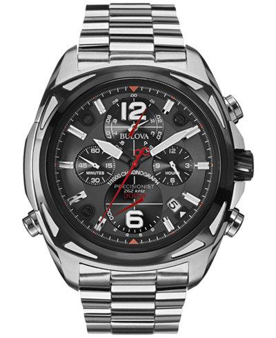 Bulova Men's Chronograph Precisionist Stainless Steel Bracelet Watch 48mm 98B227