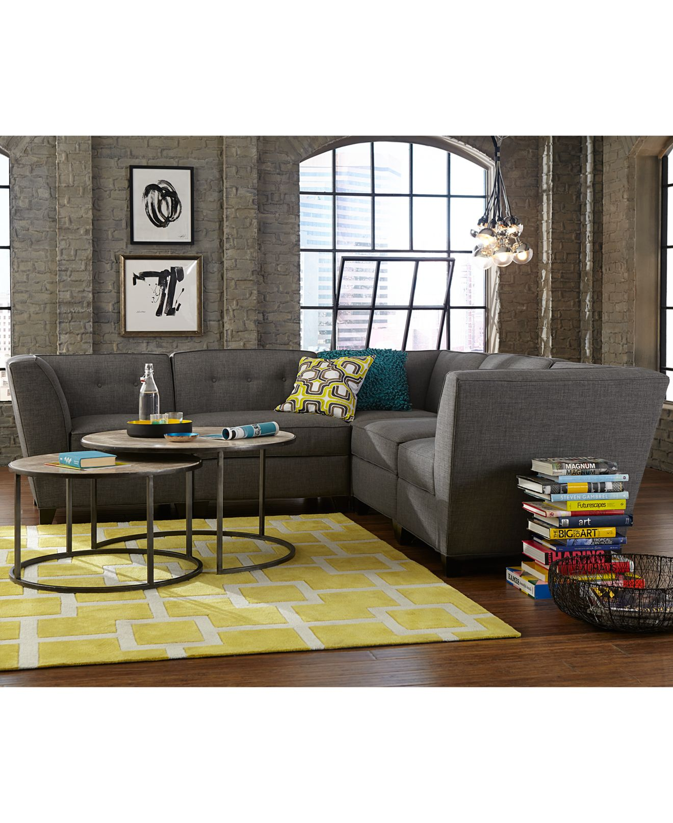 Harper fabric modular living room furniture collection with sets pieces
