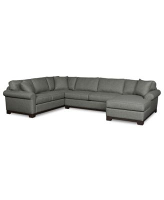 Clarence 3-Piece Wood Base Roll Arm Chaise Sectional  sc 1 st  Macyu0027s : rolled arm chaise - Sectionals, Sofas & Couches
