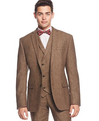 Bar III Brown Tweed Slim-Fit Jacket, Only at Macy's - Blazers ...