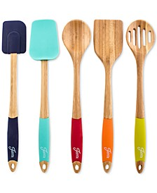 Bamboo & Silicone 5-Pc. Mixing & Serving Utensils
