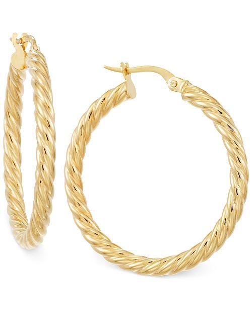 Italian Gold Twisted Hoop Earrings in 14k Gold