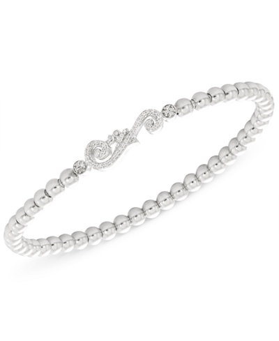 Wrapped™ Diamond Accent Swirl Stretch Bracelet in Sterling Silver, Created for Macy's
