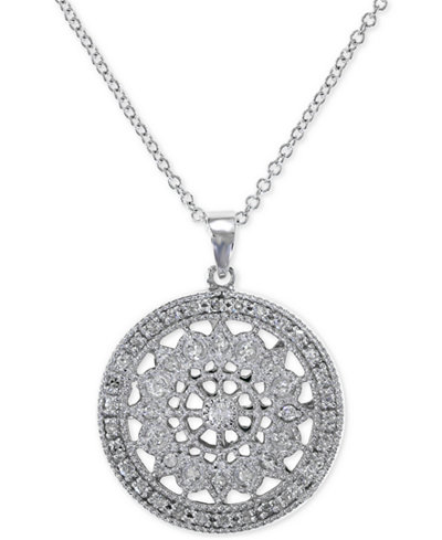 Effy diamond disc pendant necklace 14 ct tw in 14k white or effy diamond disc pendant necklace 14 ct tw in 14k white aloadofball Image collections