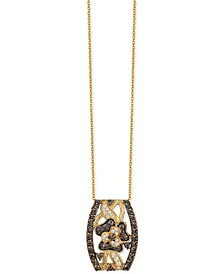 Chocolatier® Chocolate and White Diamond Pendant Necklace (1-1/4 ct. t.w.) in 14k Gold