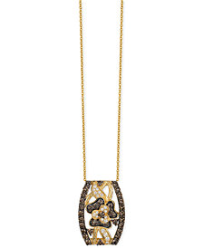 Le Vian Chocolatier® Chocolate and White Diamond Pendant Necklace (1-1/4 ct. t.w.) in 14k Gold