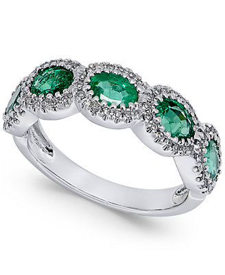 Emerald (1 1/10 Ct. T.W.) And Diamond (1/5 Ct. T.W.) Ring In 14k White Gold by Macy's