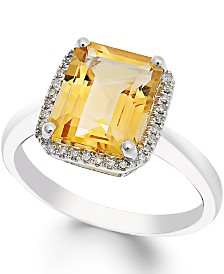 Citrine (2-2/3 ct. t.w.) and Diamond (1/10 ct. t.w.) Ring in 14k White Gold