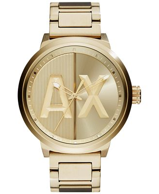 A|X Armani Exchange Men's Gold-Tone Stainless Steel Bracelet Watch 49mm AX1363