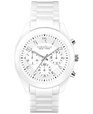 Caravelle New York by Bulova Women's Chronograph White Ceramic Bracelet Watch 36mm 45L145