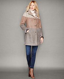 The Fur Vault Shearling Lamb Colorblocked Coat