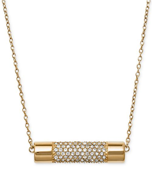 2e2e55ee1f7fd Michael Kors Gold-Tone Crystal Cylinder Pendant Necklace & Reviews ...