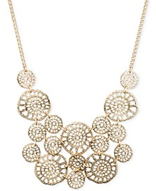Gold-Tone Textured Disc Drama Necklace