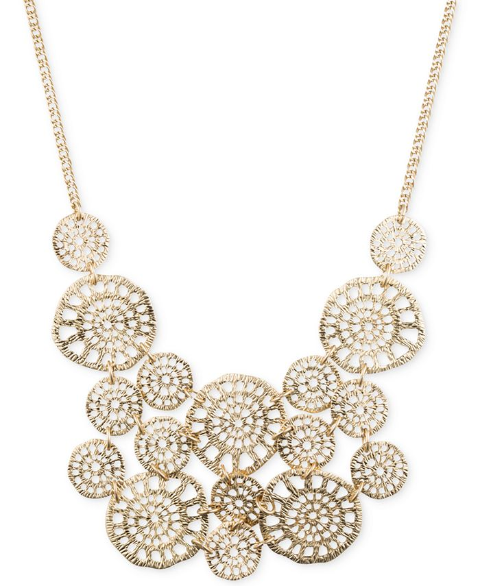 lonna & lilly - Gold-Tone Textured Disc Drama Necklace