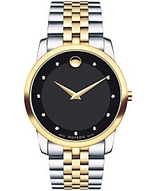 Movado Men's Swiss Museum Classic Diamond Accent Two-Tone PVD Stainless Steel Bracelet Watch 40mm 0606879