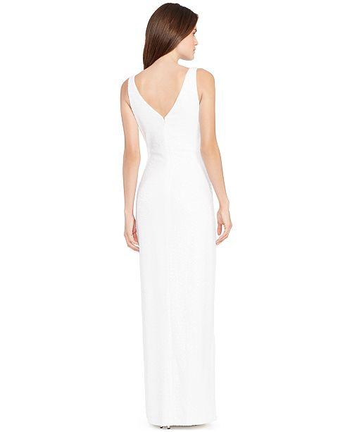 Lauren Ralph Lauren Sequined V Neck Gown Dresses Women