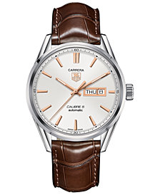 TAG Heuer Men's Swiss Automatic Carrera Calibre 5 Brown Leather Strap Watch 41mm