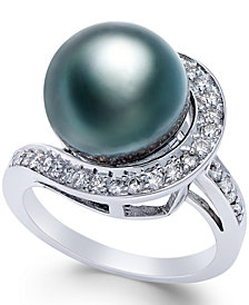 Black Tahitian Pearl (11mm) and Diamond (3/8 ct. t.w.) Ring in 14k White Gold