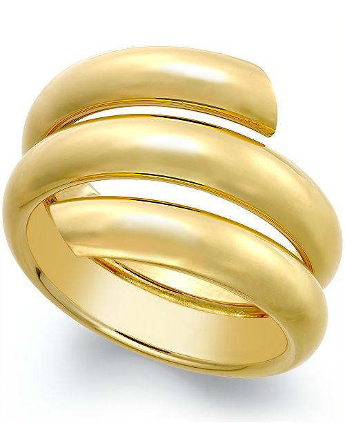 Italian Gold Three Row Coil Bypass Ring in 14k Gold
