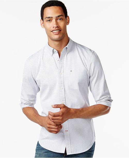 c8c8c9004 Tommy Hilfiger New England Stripe Long-Sleeve Custom-Fit Oxford Shirt