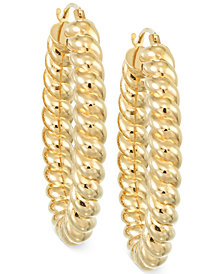 Signature Gold™ Rope Hoop Earrings in 14k Gold over Resin