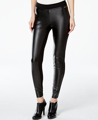 Calvin Klein Faux Leather Front Leggings Pants Women